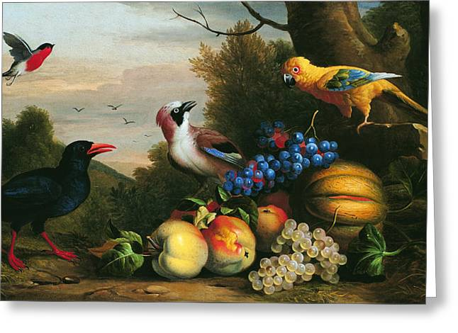Still Life With Birds And Fruits Greeting Card