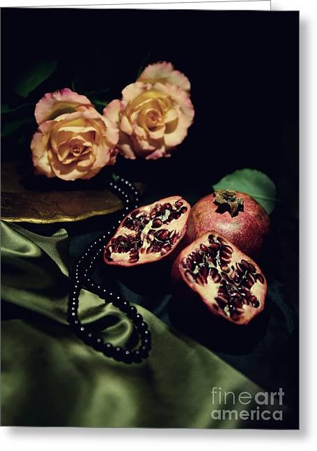 Still Life With Black Pearls Greeting Card