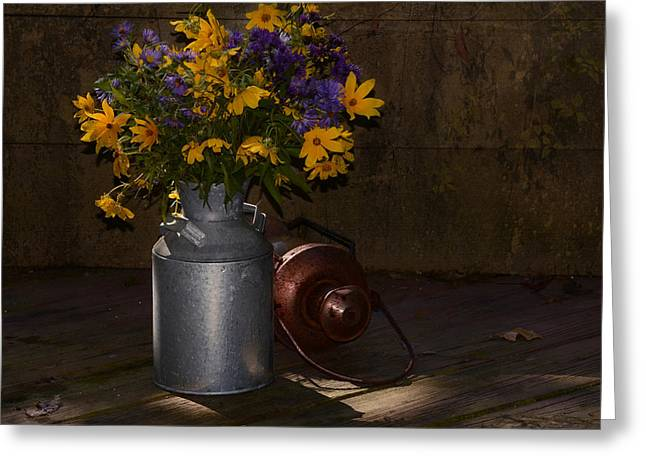 Still Life With Blue And Yellow Flowers Greeting Card by Ann Bridges