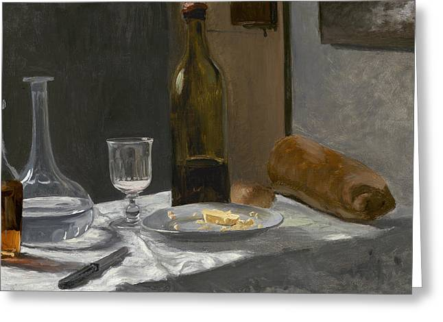Still Life With Bottle Carafe Bread And Wine Greeting Card by Claude Monet