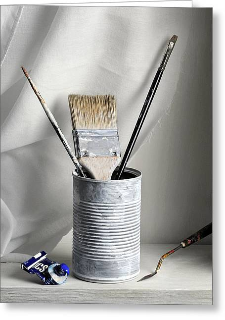 Still Life With Brushes Greeting Card by Krasimir Tolev