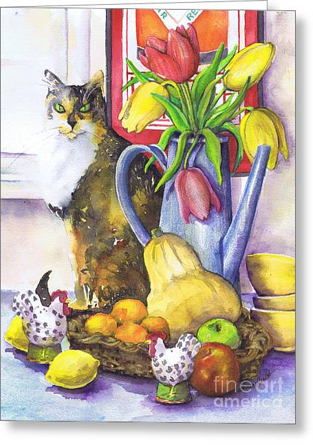 Greeting Card featuring the painting Still Life With Cat by Susan Herbst