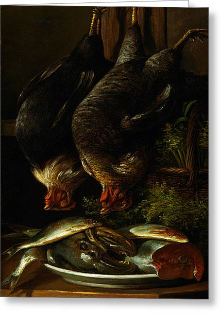 Still Life With Chickens And Fish Greeting Card by Celestial Images