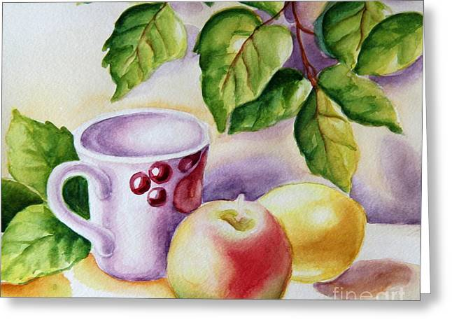 Still Life With Cup And Fruits Greeting Card