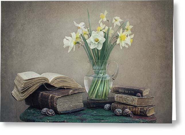 Still Life With Daffodils, Old Books And Snails Greeting Card