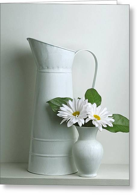 Still Life With Daisy Flowers Greeting Card