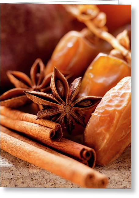 Still Life With Dates, Star Anise And Cinnamon Sticks Greeting Card