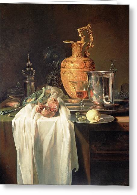 Still Life With Ewer, Vessels And Pomegranate Willem Kalf Greeting Card by Litz Collection