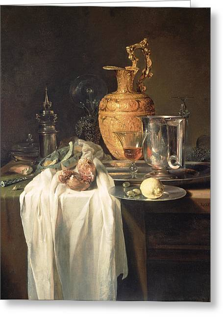 Still Life With Ewer Vessels And Pomegranate Greeting Card by Willem Kalf
