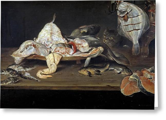 Still Life With Fish And A Cat Greeting Card by Alexander Adriaenssen
