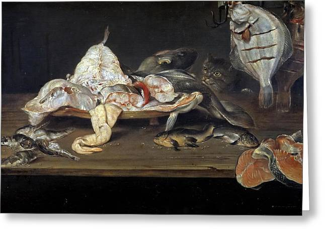 Still Life With Fish And A Cat Greeting Card