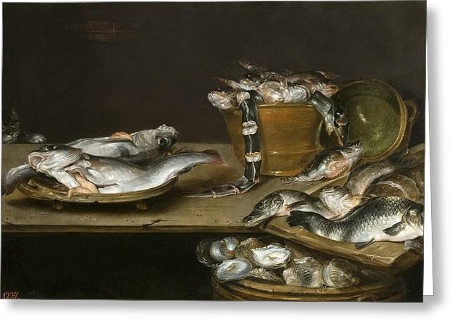 Still Life With Fish Oysters And A Cat Greeting Card by Alexander Adriaenssen