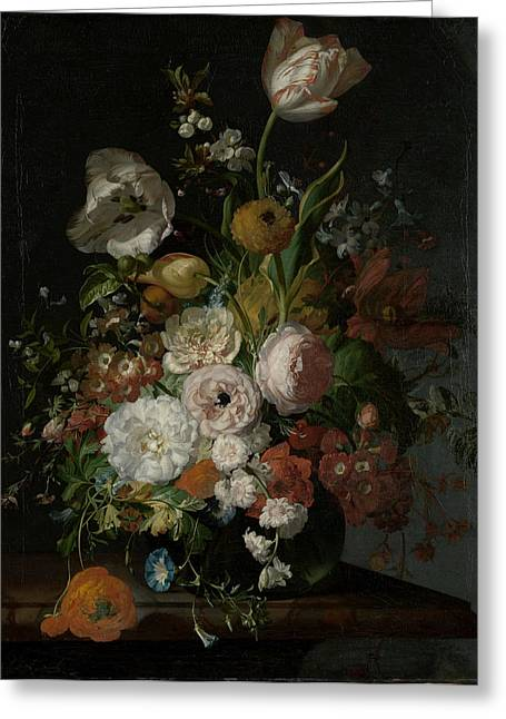 Still Life With Flowers In A Glass Vase, Rachel Ruysch Greeting Card