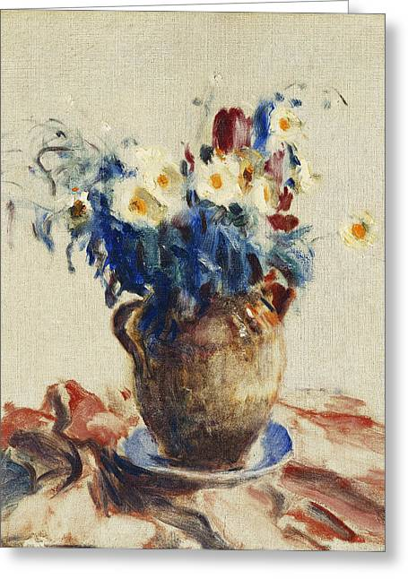 Still Life With Flowers In An Earthenware Jug Greeting Card