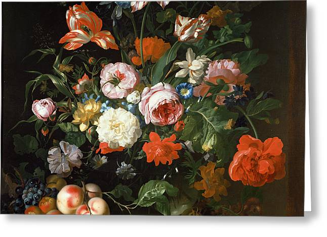Still Life With Flowers  Greeting Card by Rachel Ruysch