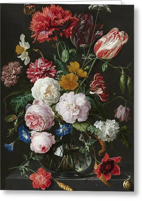Still Life With Flowers In Glass Vase Greeting Card
