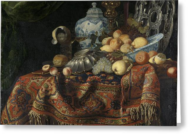 Still Life With Fruit And Crockery On A Turkish Carpet Greeting Card by Litz Collection