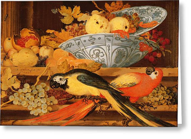 Still Life With Fruit And Macaws, 1622 Greeting Card