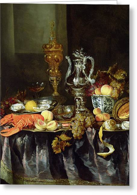 Still Life With Fruit And Shellfish Oil On Canvas Greeting Card