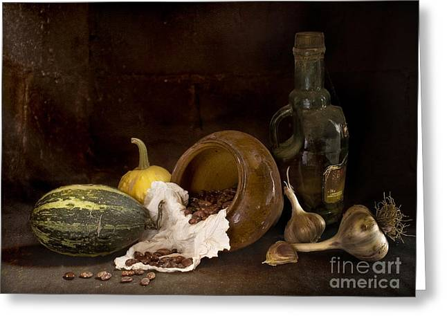 Still Life With Garlic  And Strewed Beans Greeting Card