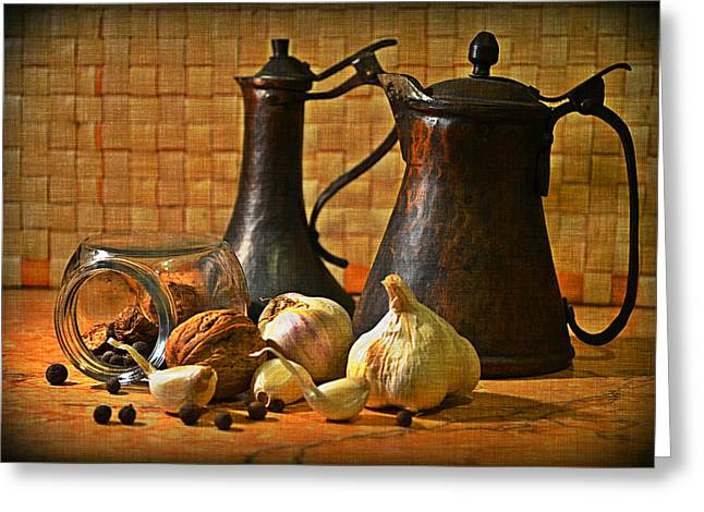 Still Life With Garlic Greeting Card