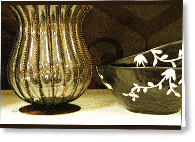 Still Life With Golden Vase Greeting Card by Ben and Raisa Gertsberg