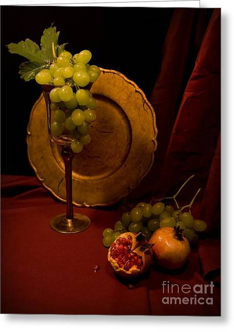 Still Life With Grapes And Pomegranate Greeting Card by Jaroslaw Blaminsky
