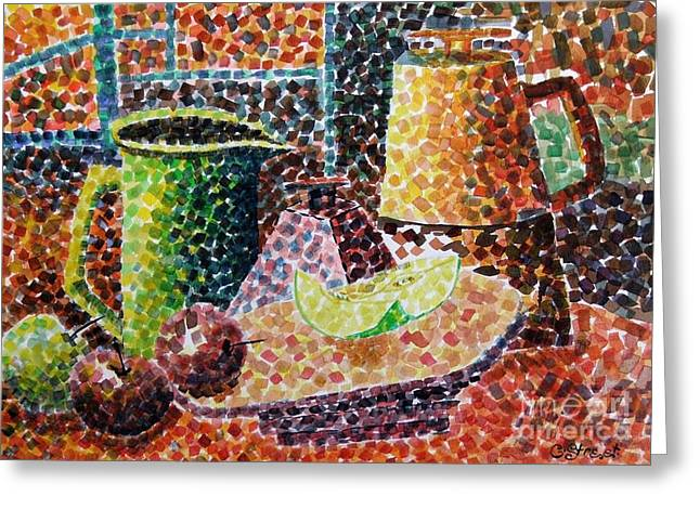 Still Life With Green Jug Painting Greeting Card by Caroline Street