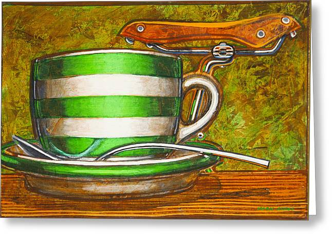 Still Life With Green Stripes And Saddle  Greeting Card by Mark Jones