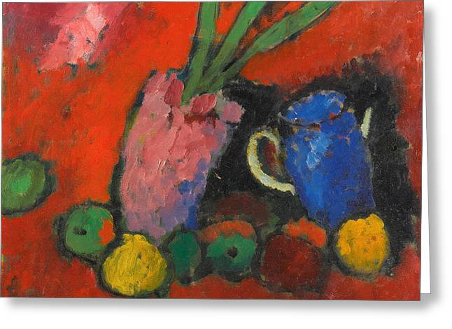 Still-life With Hyacinths Blue Jug And Apples Greeting Card