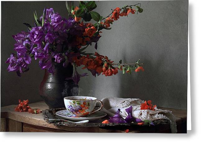 Still Life With Irises Flowers And A Twig Of Blooming Japan Quince Tree Greeting Card by Helen Tatulyan