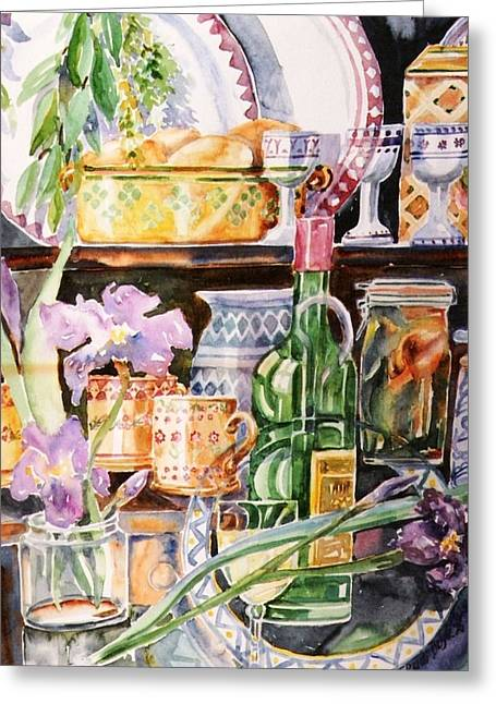 Still Life With Irises Greeting Card by Trudi Doyle