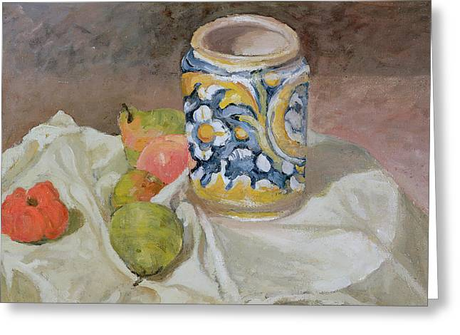 Still Life With Italian Earthenware Jar Greeting Card by Paul Cezanne