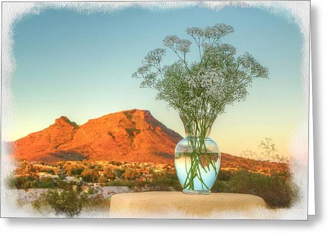 Still Life With Landscape Greeting Card by Rick Lloyd