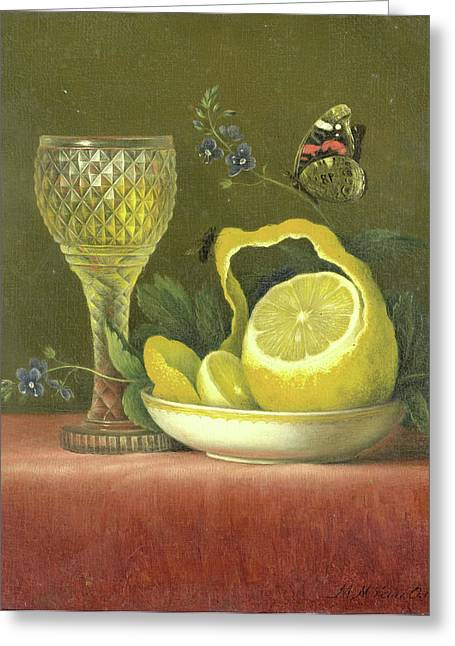 Still Life With Lemon And Cut-glass Wine Goblet Greeting Card