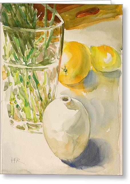 Still Life With Lemon And Vase Greeting Card by Pablo Rivera