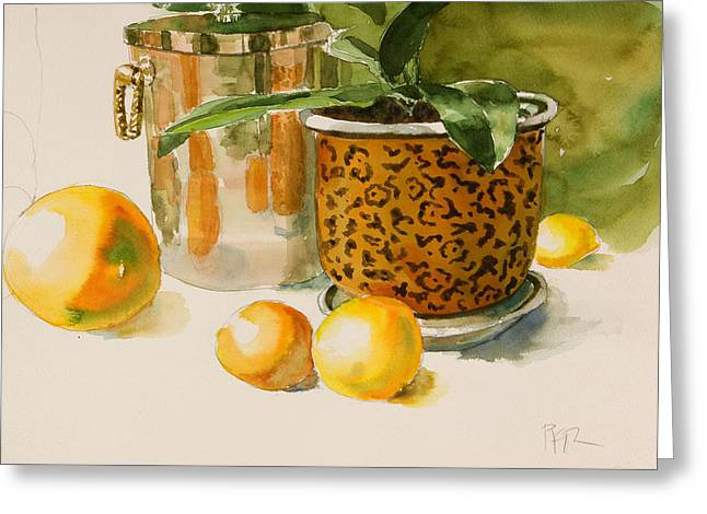 Still Life With Lemons And Potted Plant Greeting Card by Pablo Rivera