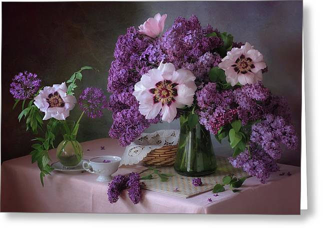Still Life With Lilac And Peonies Greeting Card