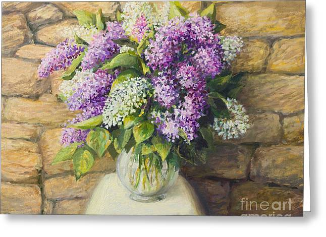 Still Life With Lilacs Greeting Card by Kiril Stanchev