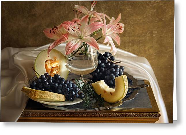 Still Life With Lily Flowers And Melon Greeting Card
