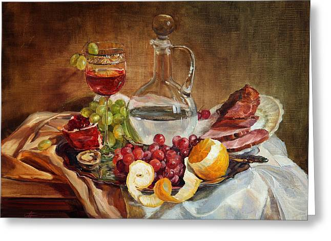 Still Life With Meat And Wine Greeting Card