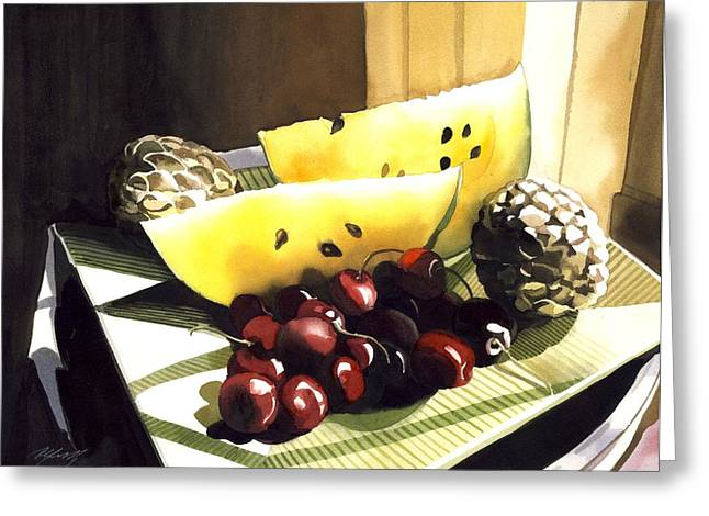 Still Life With Melon Greeting Card by Alfred Ng