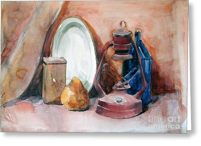 Watercolor Still Life With Rustic, Old Miners Lamp Greeting Card