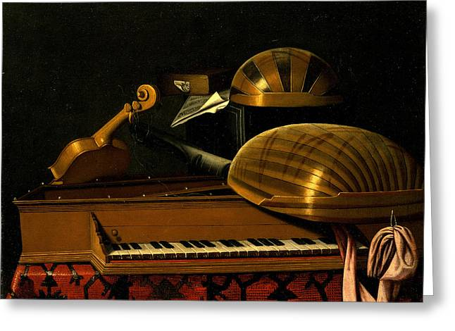 Still Life With Musical Instruments And Books Greeting Card by Bartolomeo Bettera