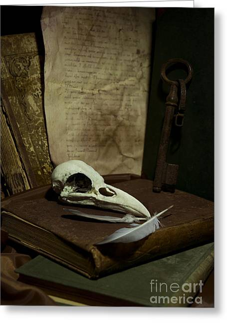 Still Life With Old Books Rusty Key Bird Skull And Feathers Greeting Card by Jaroslaw Blaminsky