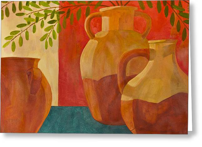 Still Life With Olive Branches I Greeting Card