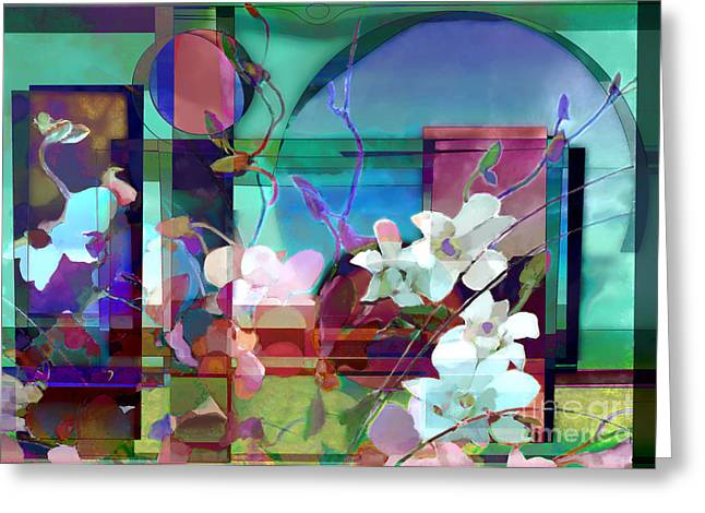 Still Life With Orchids Greeting Card by Ursula Freer