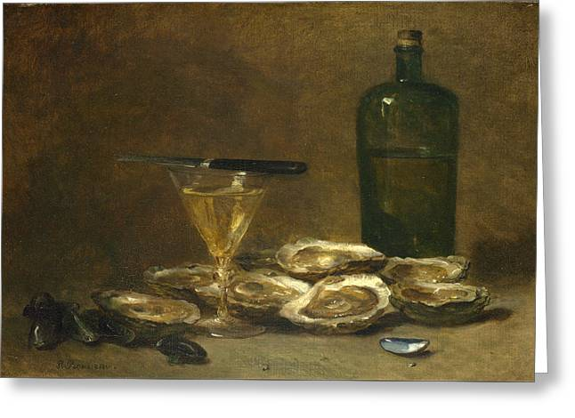 Still Life With Oysters Greeting Card by Philippe Rousseau