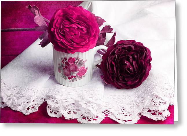 Still Life With Paper Flowers Greeting Card by Angela Bruno