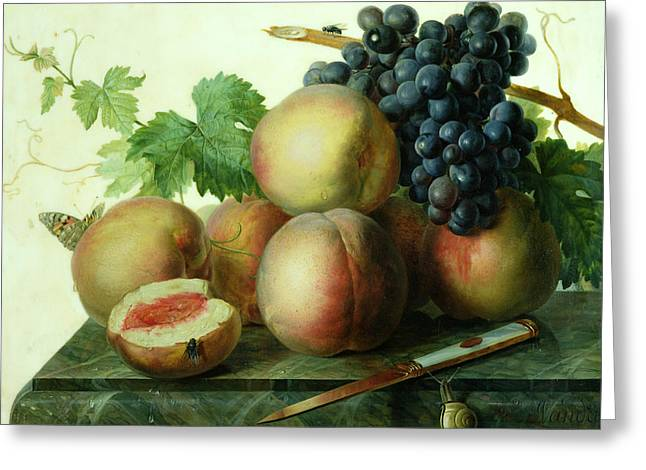 Still Life With Peaches And Grapes On Marble Greeting Card by Jan Frans van Dael